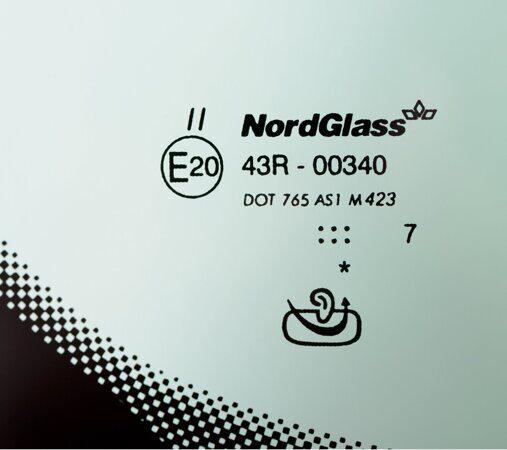 Маркировка лобового стекла Nordglass